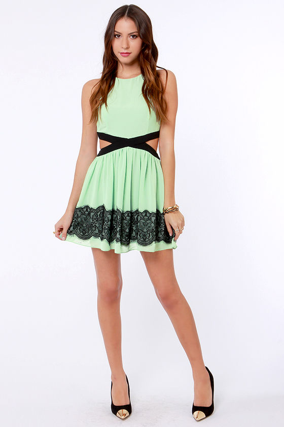 Double Duchess Mint Green Lace Dress at Lulus.com!