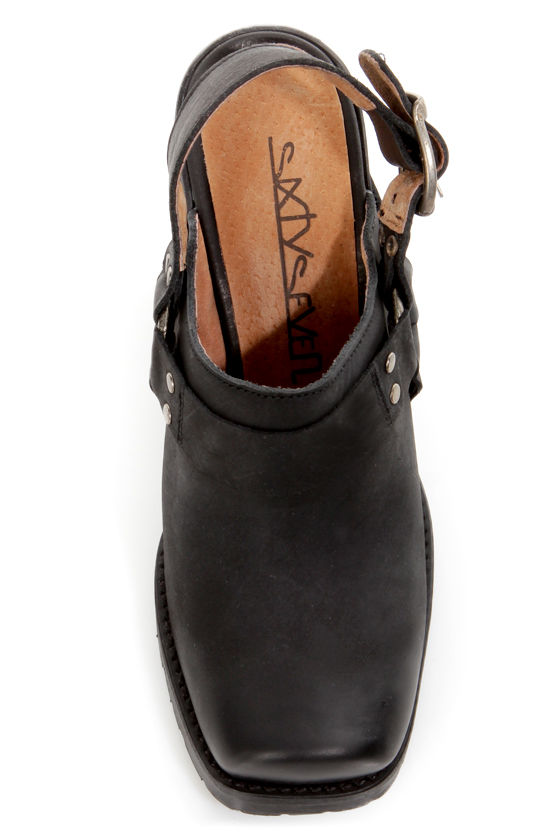 Sixtyseven Michelle Oleato Black Harness Slingback Clog Heels at Lulus.com!