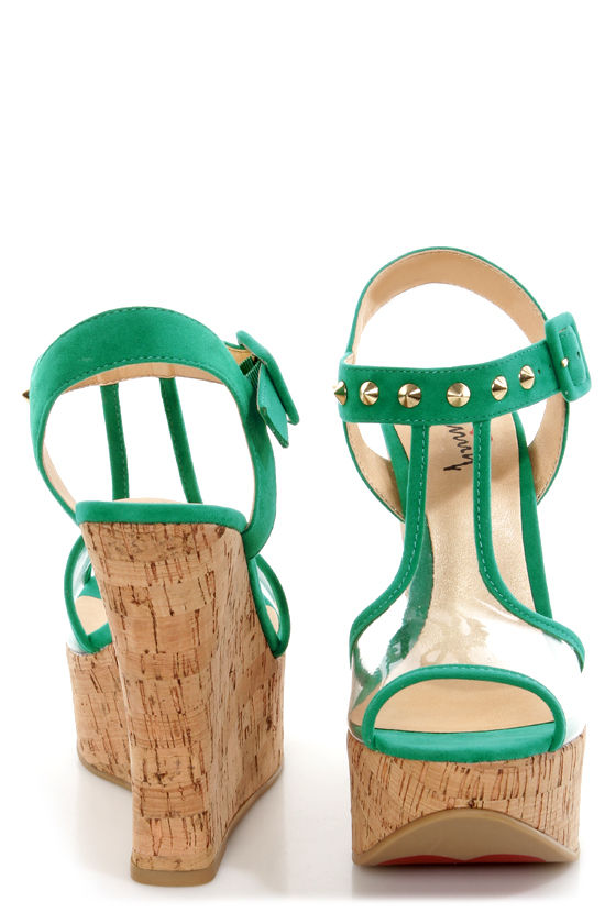 Luichiny Got Me Now Aqua Studded Clear Platform Wedge Sandals at Lulus.com!