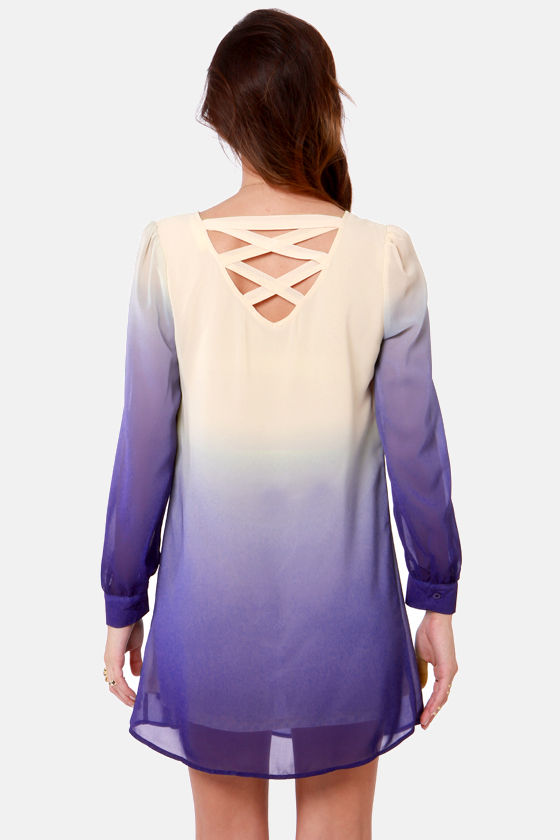 Roll the Dyes Beige and Blue Ombre Dress at Lulus.com!