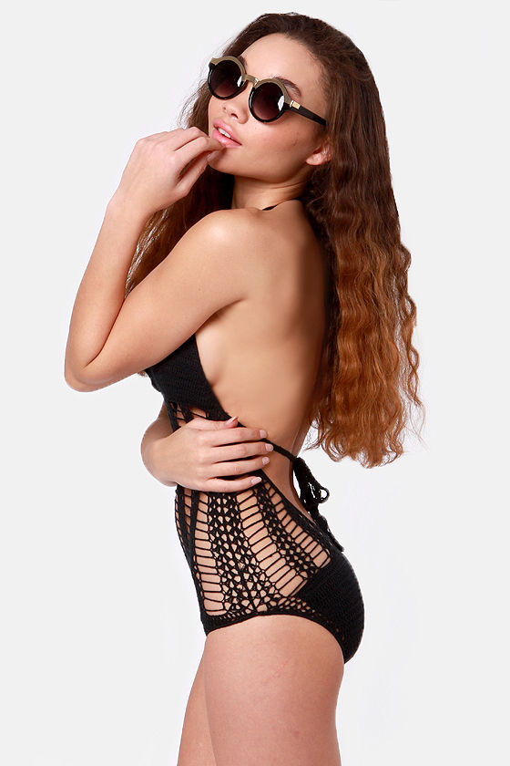 Wish You Were Here Crochet Black One Piece Swimsuit at Lulus.com!