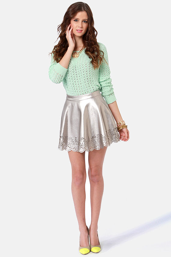 Cut in the Act Laser-Cut Silver Skirt at Lulus.com!