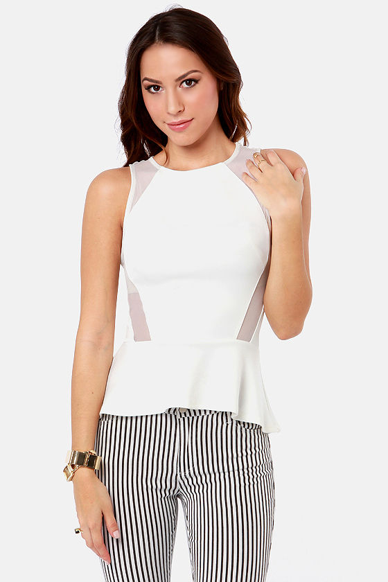 One Pep Ahead White Peplum Top at Lulus.com!