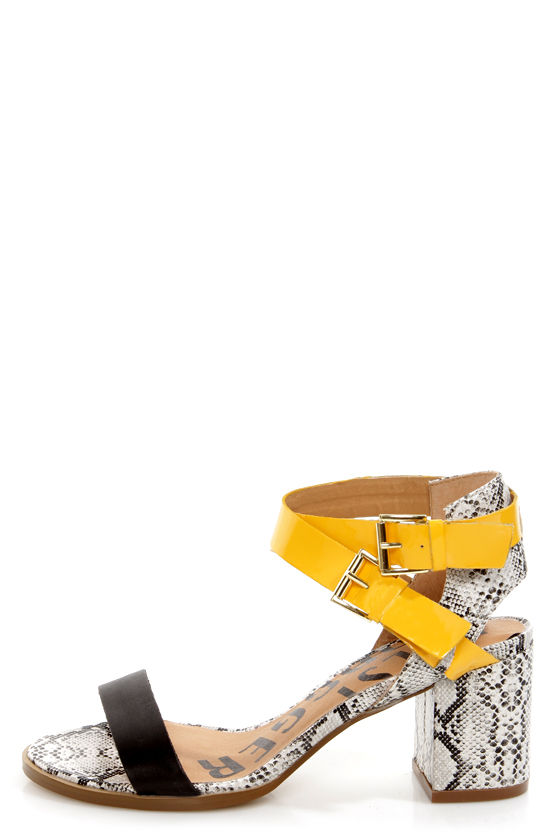 Kelsi Dagger Carmanita Black and Yellow Snake Print Chunky Heels -  117.00