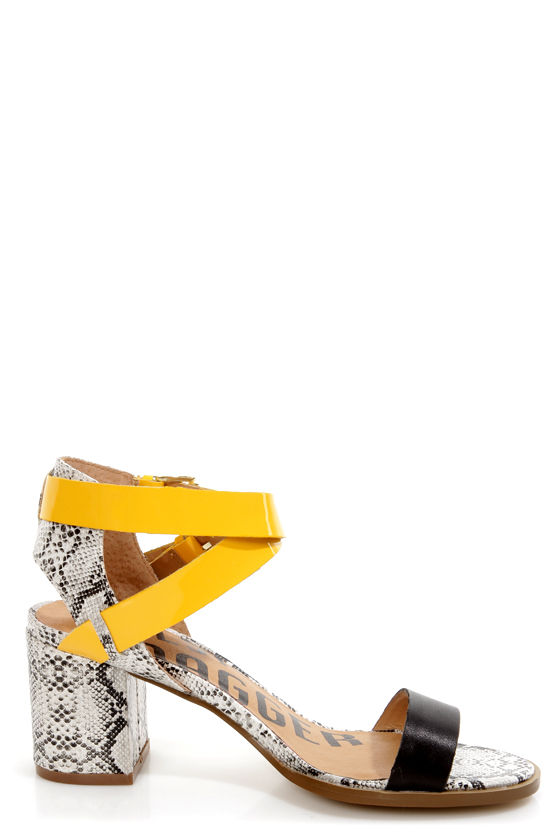 Kelsi Dagger Carmanita Black and Yellow Snake Print Chunky Heels at Lulus.com!