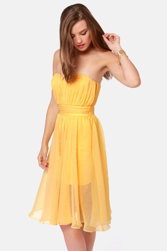 Blaque Label Guest of Honor Strapless Yellow Dress at Lulus.com!