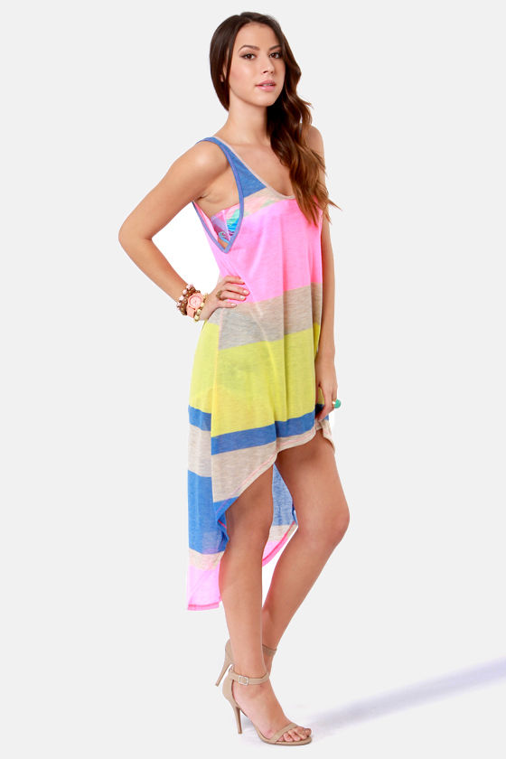 Baja Beach Party Neon Striped Tank Dress at Lulus.com!