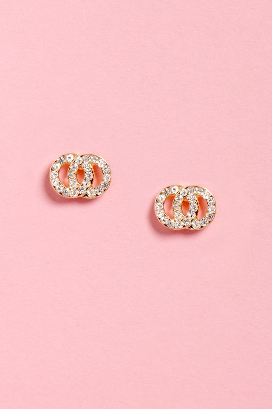 On the Double Gold Rhinestone Earrings at Lulus.com!