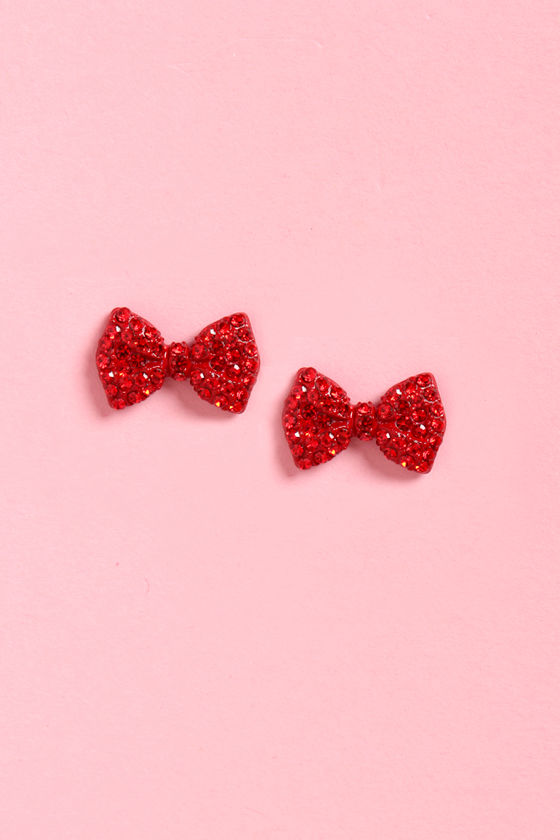 Cherry Bow-mb Red Bow Earrings at Lulus.com!
