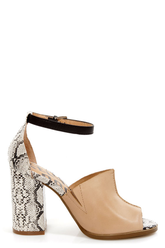 Kelsi Dagger Georgie Tan, Black, and Snake Print Slide Heels at Lulus.com!