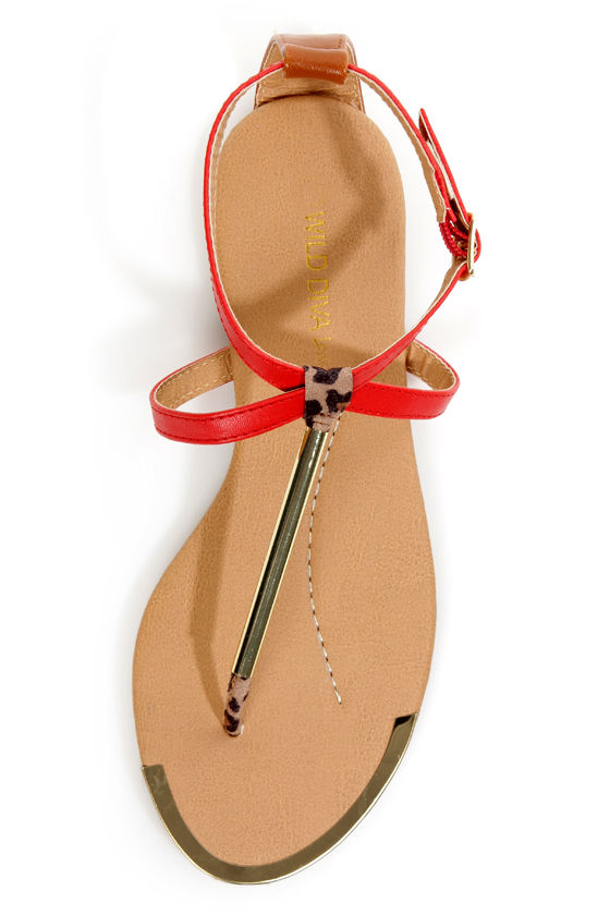 Wild Diva Lounge Tabiana 01 Orange Red and Gold Thong Sandals at Lulus.com!
