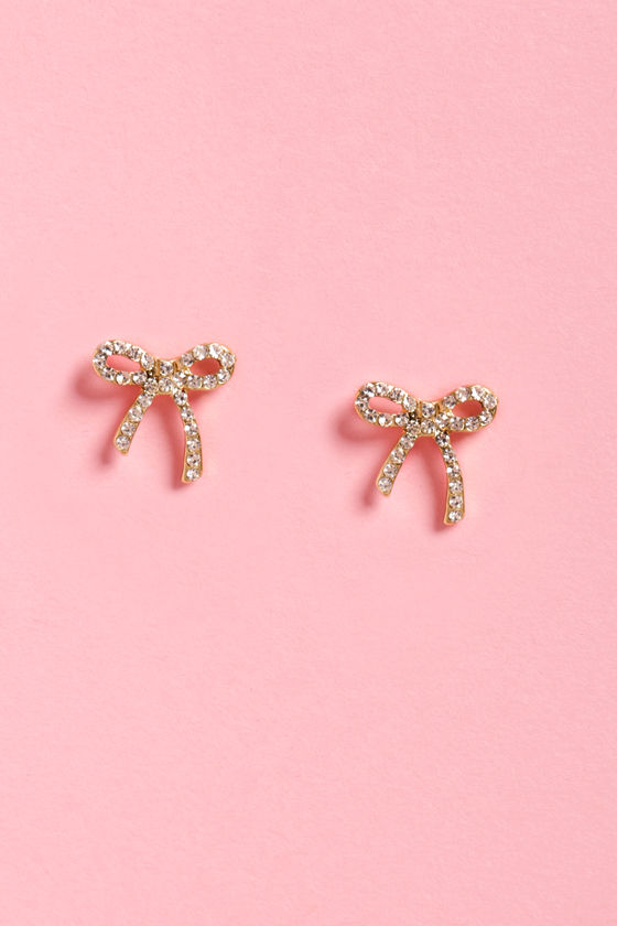 Wrap It Up Gold Rhinestone Bow Earrings at Lulus.com!