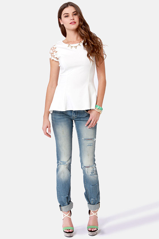 At Charm's Length Ivory Lace Top at Lulus.com!