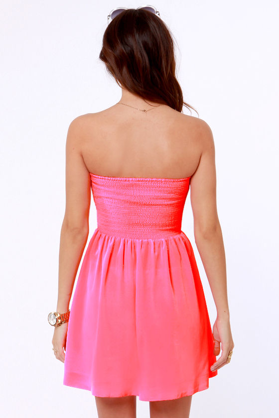 Roxy Good Times Strapless Neon Pink Dress at Lulus.com!