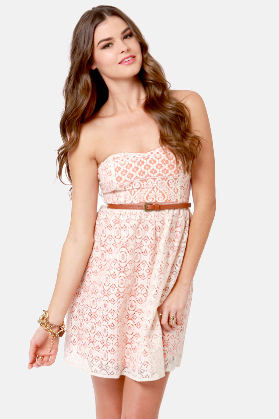 Cute Lace Dress - Strapless Dress - Beige Dress - $43.00