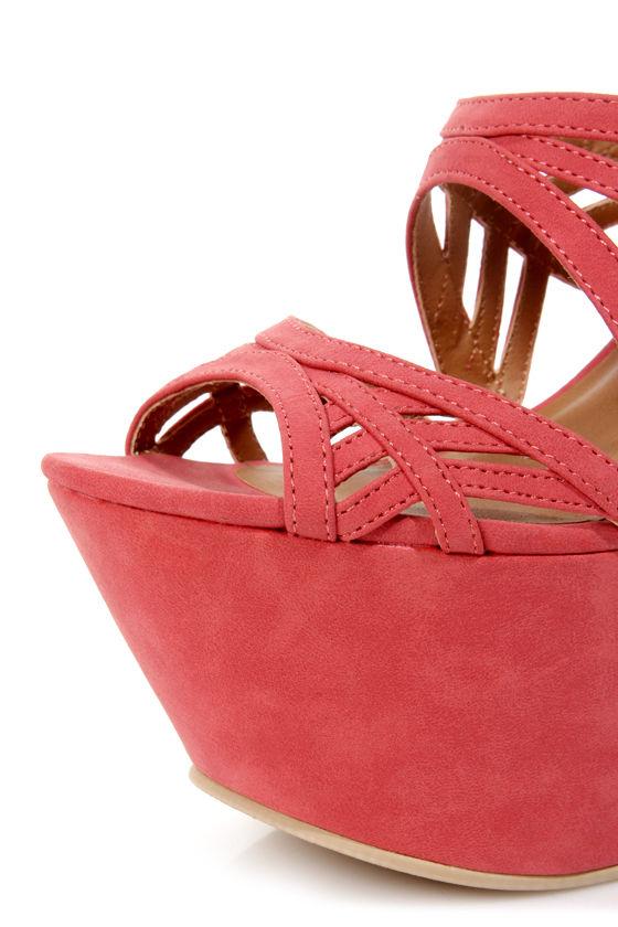 Michael Antonio Studio Trego Coral Cutout Platform Heels at Lulus.com!