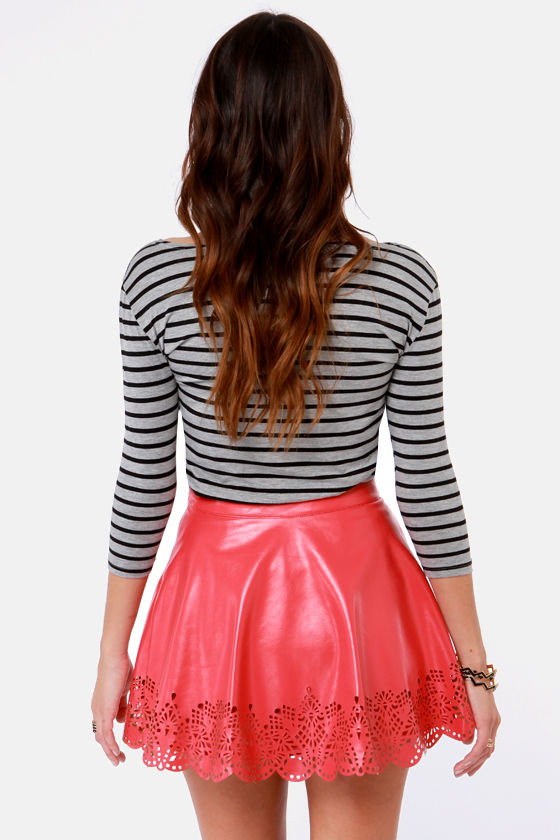 Cut in the Act Laser-Cut Red Skirt at Lulus.com!