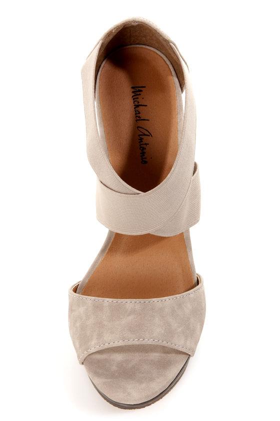 Michael Antonio Tamms Stone Taupe Elastic Banded Platform Heels at Lulus.com!