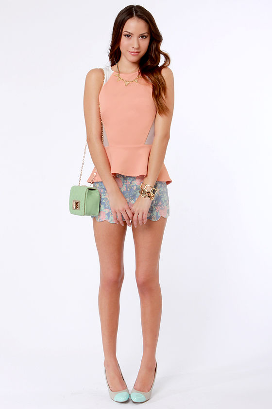 One Pep Ahead Peach Peplum Top at Lulus.com!