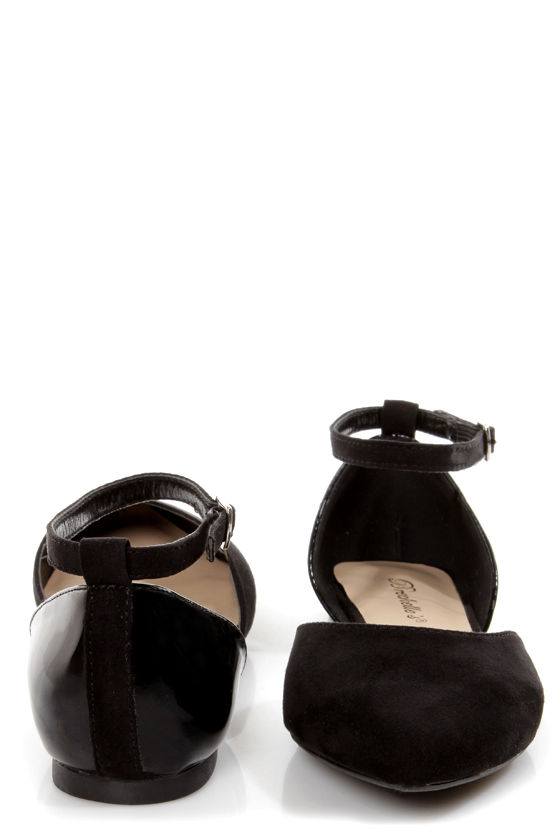 Dolley 01 Black D'Orsay Pointed Flats at Lulus.com!