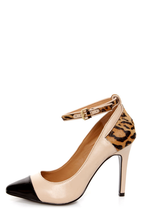 Kelsi Dagger Eryn Blush, Black and Leopard Cap-Toe Pointed Pumps at Lulus.com!
