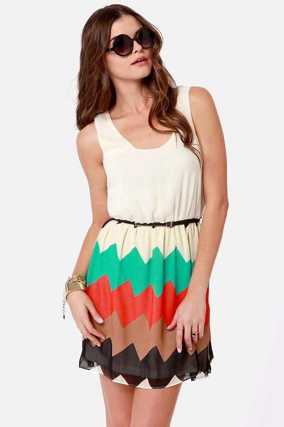 Ziggity Do Da Cream Striped Dress at Lulus.com!