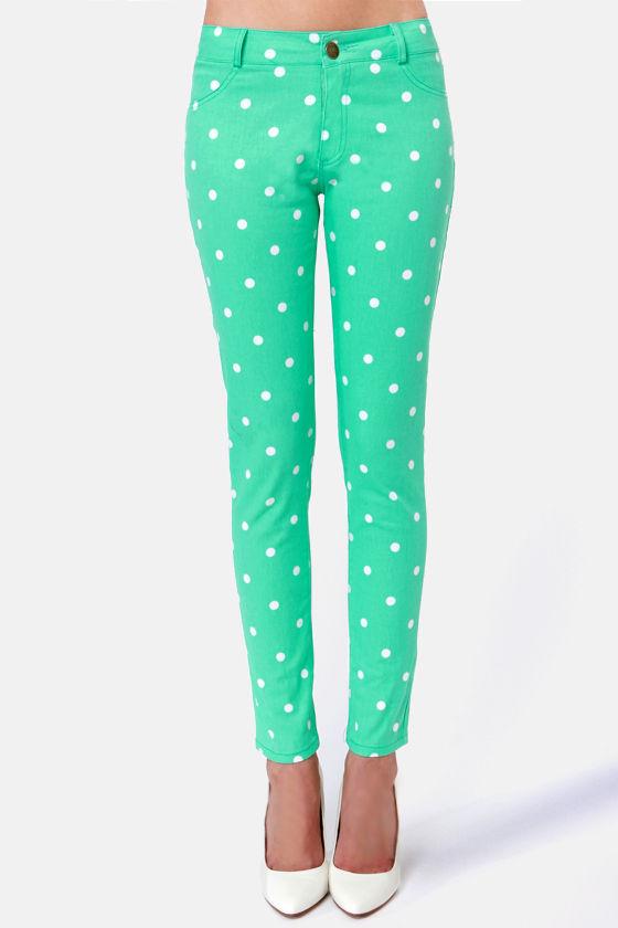 9248eebbe Cute Green Pants - Polka Dot Jeggings -  53.00