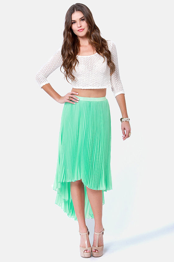 Accordion to Plan Mint Pleated Skirt at Lulus.com!
