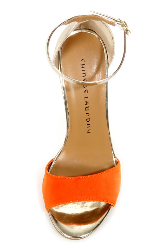 Chinese Laundry Lucky Charm Orange Multi High Heel Sandals at Lulus.com!