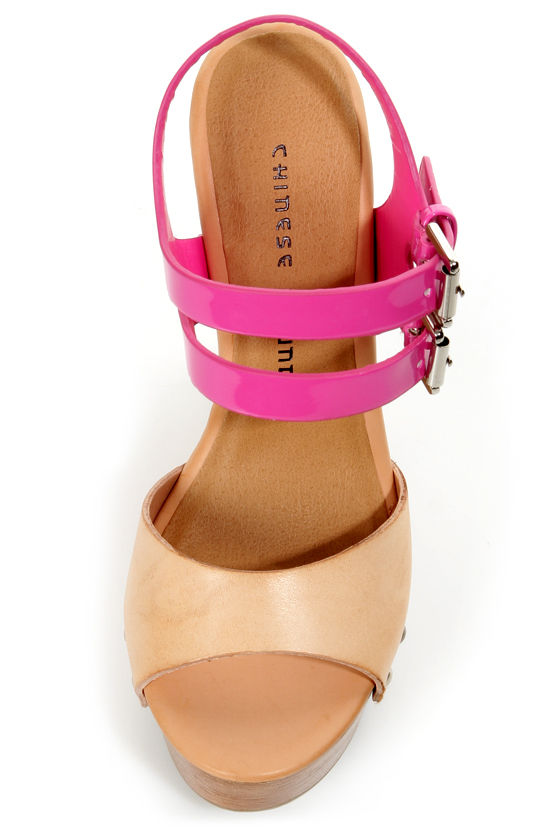 Chinese Laundry Jungle Gym Natural and Fuchsia Platform Wedges at Lulus.com!
