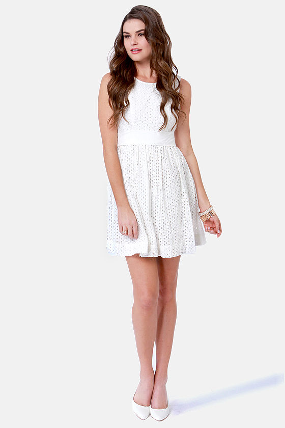 Quiksilver Wax Flower Backless Ivory Dress at Lulus.com!
