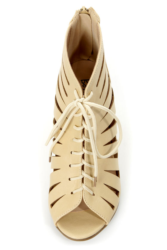 Vida 1 Beige Cutout Lace-Up Wedge Booties at Lulus.com!