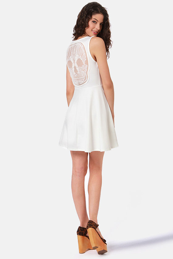 Laced With Poison Ivory Lace Dress at Lulus.com!