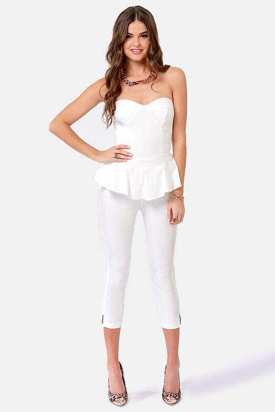 Fun White Jumpsuit - Strapless Jumpsuit - Peplum Jumsuit - $46.00
