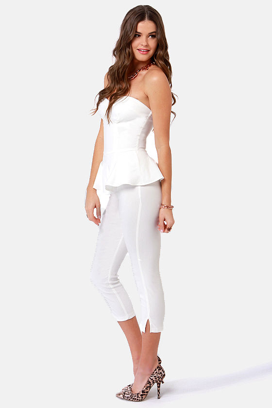 LULUS Exclusive This Girl is On Fire Strapless White Jumpsuit at Lulus.com!