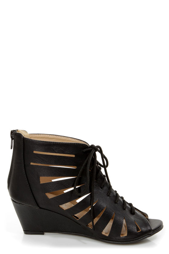 Vida 1 Black Cutout Lace-Up Wedge Booties at Lulus.com!
