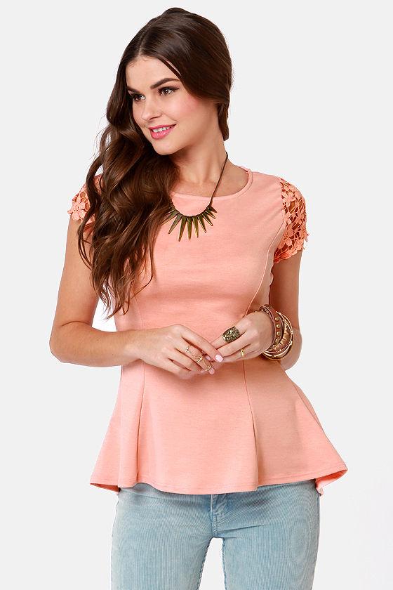 e18d73288ec74 Cute Peach Top - Lace Top - Short Sleeve Top -  35.50