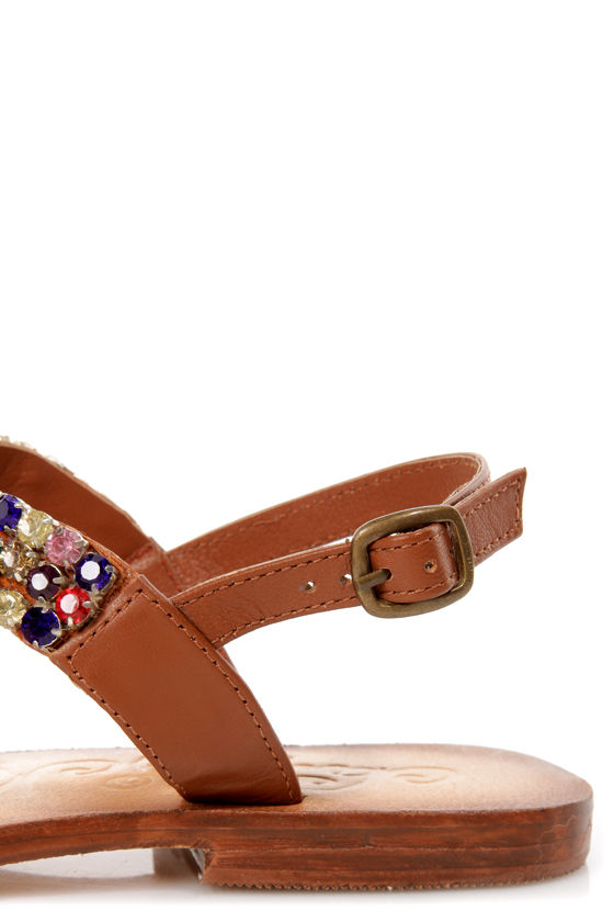 Naughty Monkey Native Tan Rhinestone Studded Thong Sandals at Lulus.com!