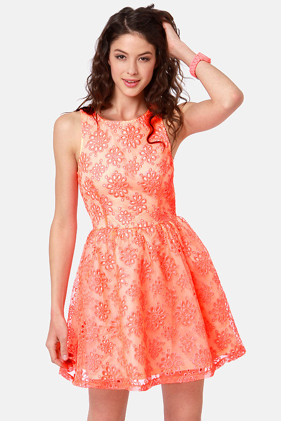 Bright and Girly Neon Orange Lace Dress at Lulus.com!
