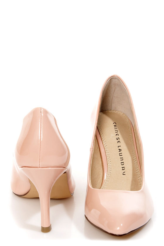 Chinese Laundry Area Patent Peachy Creme Pointed Pumps at Lulus.com!