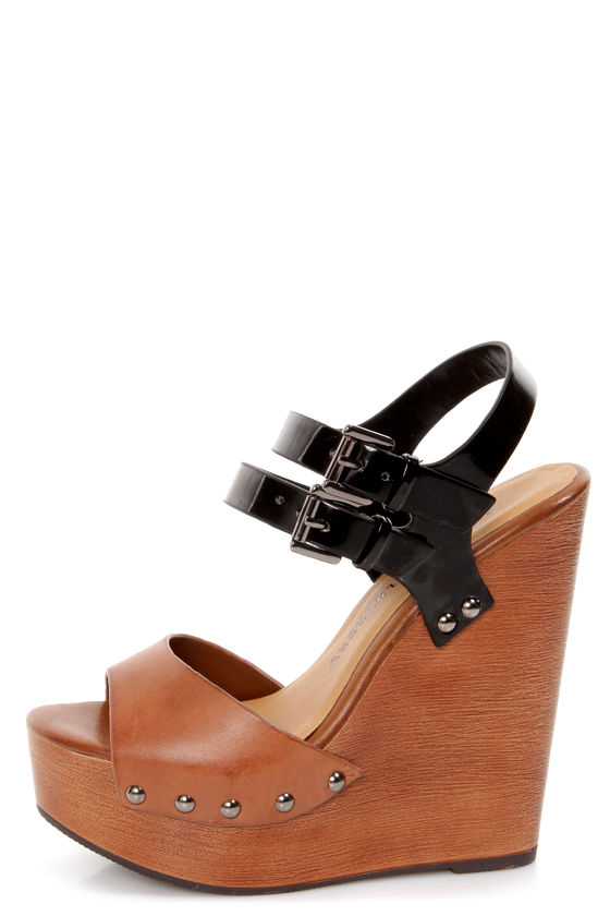 f49f33a71eb2 Chinese Laundry Jungle Gym Cognac and Black Platform Wedges -  79.00