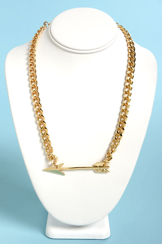 Straight Shooter Gold Arrow Necklace at Lulus.com!