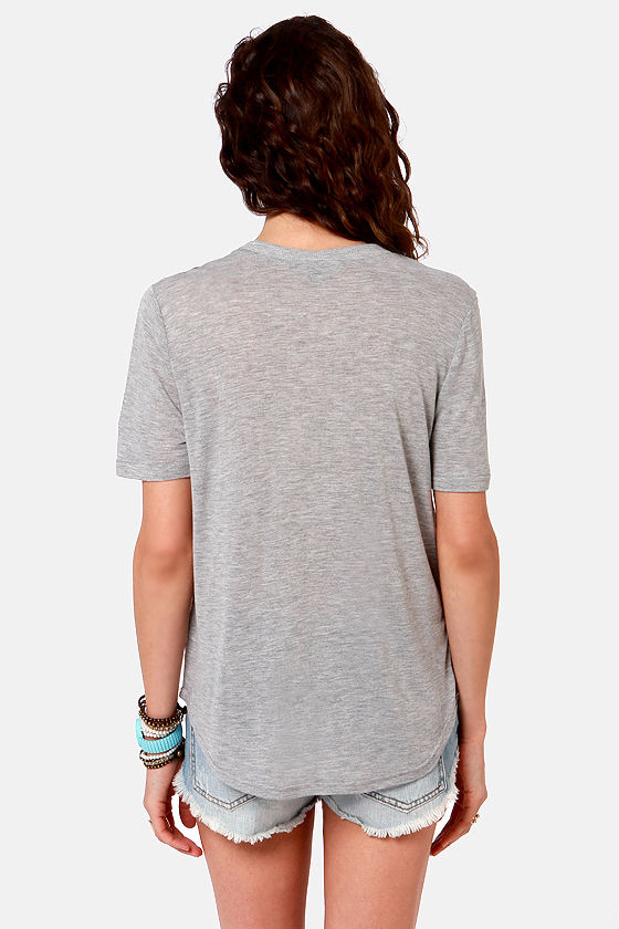 String You Along Grey Print Top at Lulus.com!