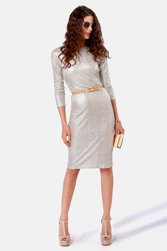 014f78dc58ab Sexy Silver Dress - Midi Dress - Long Sleeve Dress -  50.00