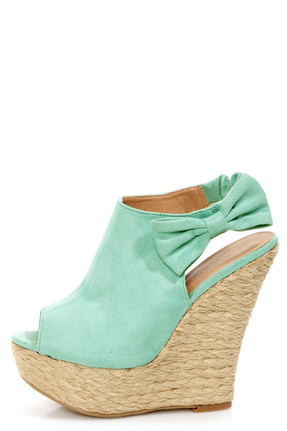 Wild Diva Lounge Kendall 17 Mint Peep Toe Clog Platform Wedges at Lulus.com!