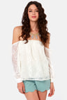c1aec7b25591 Sexy Off-the-Shoulder Top - Ivory Top - Lace Top -  35.00