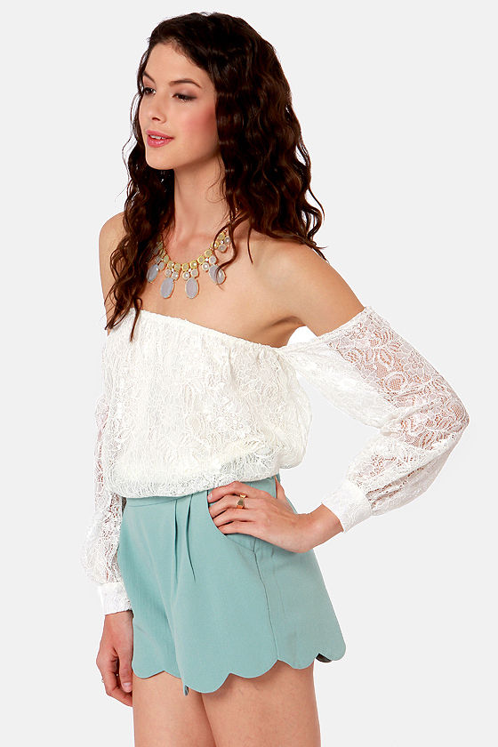 LULUS Exclusive Attagirl Off-the-Shoulder Ivory Lace Top at Lulus.com!