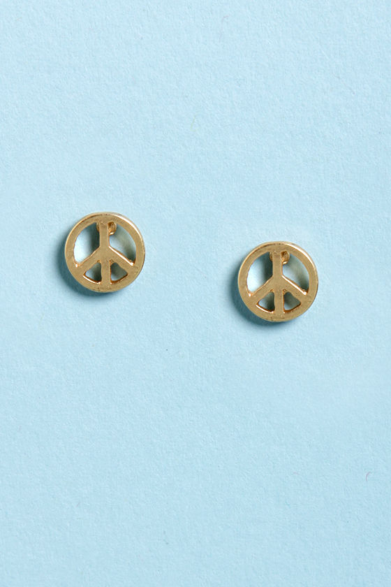 Peace of My Heart Gold Peace Earrings at Lulus.com!
