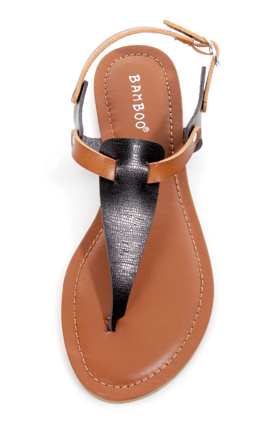 Bamboo Morris 67 Chestnut and Black T-Strap Thong Sandals at Lulus.com!
