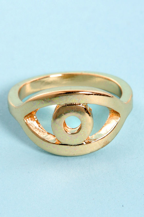 Perfect Pupil Gold Eye Ring at Lulus.com!